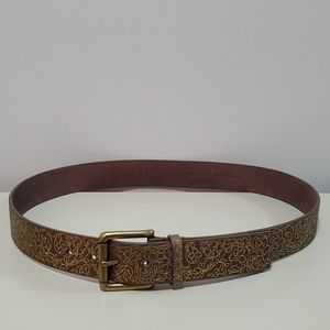 Guess Belt Brown Leather With Gold Floral Detail